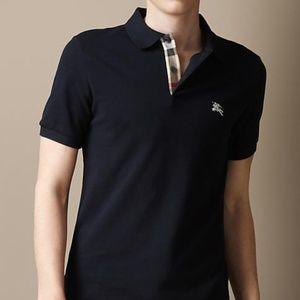 f67ab230a Burberry Shirts | Brit Dark Navy Mens Check Polo Shirt | Poshmark